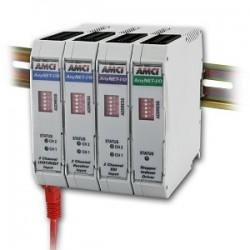 AMCI-ANYNET-family-stacked-with-feathered-din-rail-and-cable